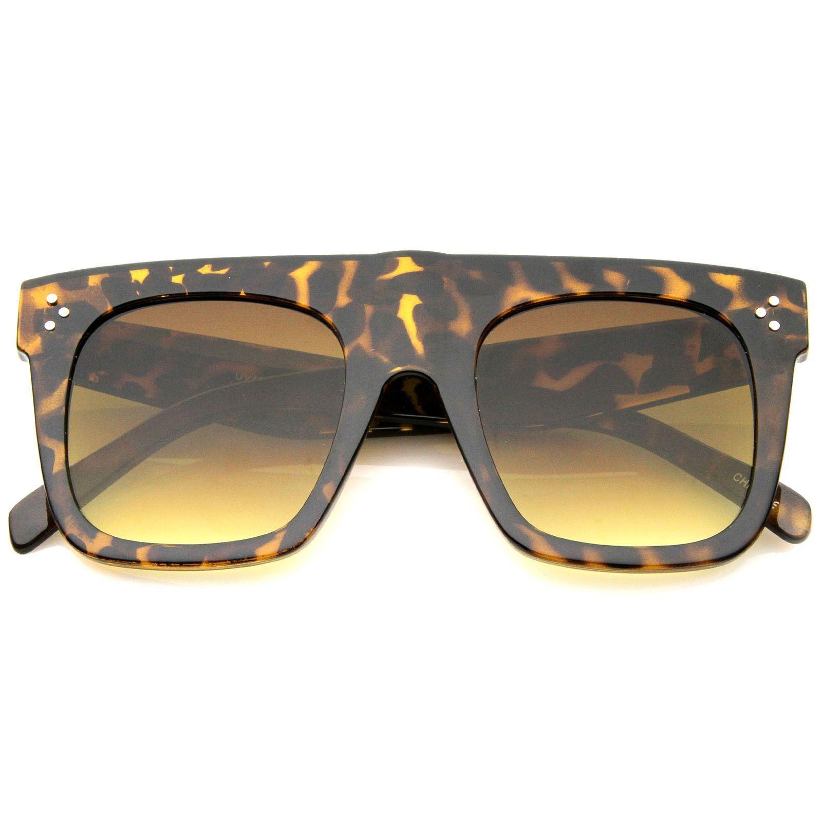 b9a7e74d4d20 Modern Fashion Bold Flat Top Square Horn Rimmed Sunglasses 50mm Cool  Sunglasses
