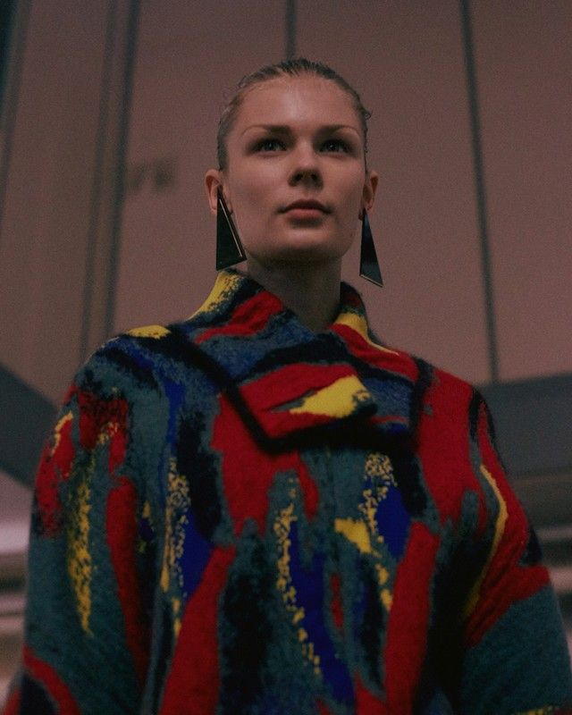 Primary coloured splashy sweater backstage at J.W.Anderson AW15 LFW. See more here: http://www.dazeddigital.com/fashion/article/23739/1/j-w-anderson-aw15