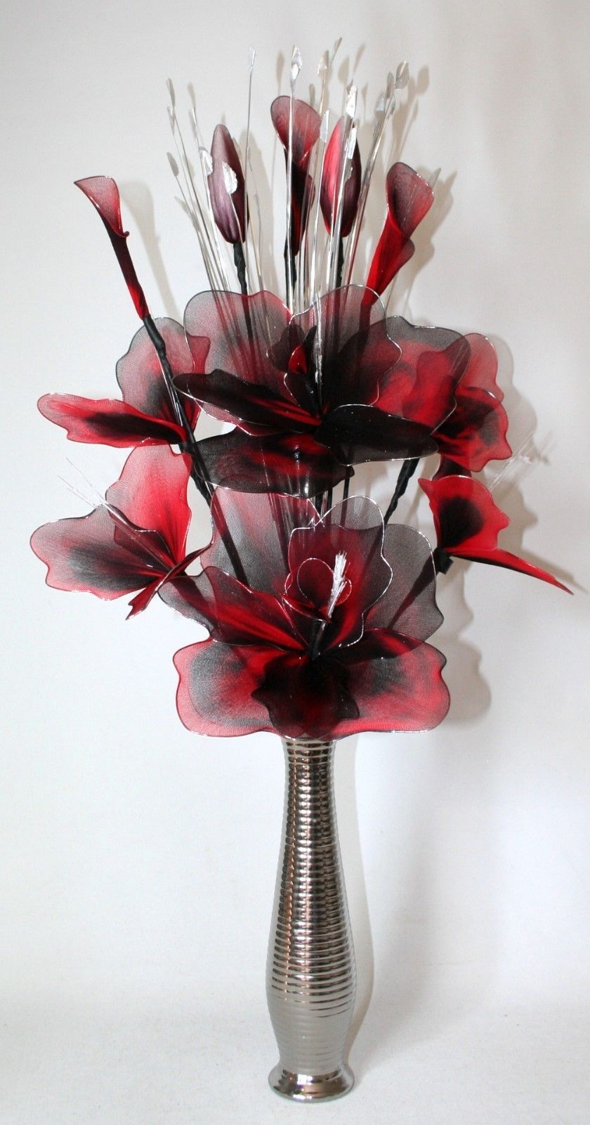 Artificial Flowers Large Red Black Nylon Arrangement In Silver