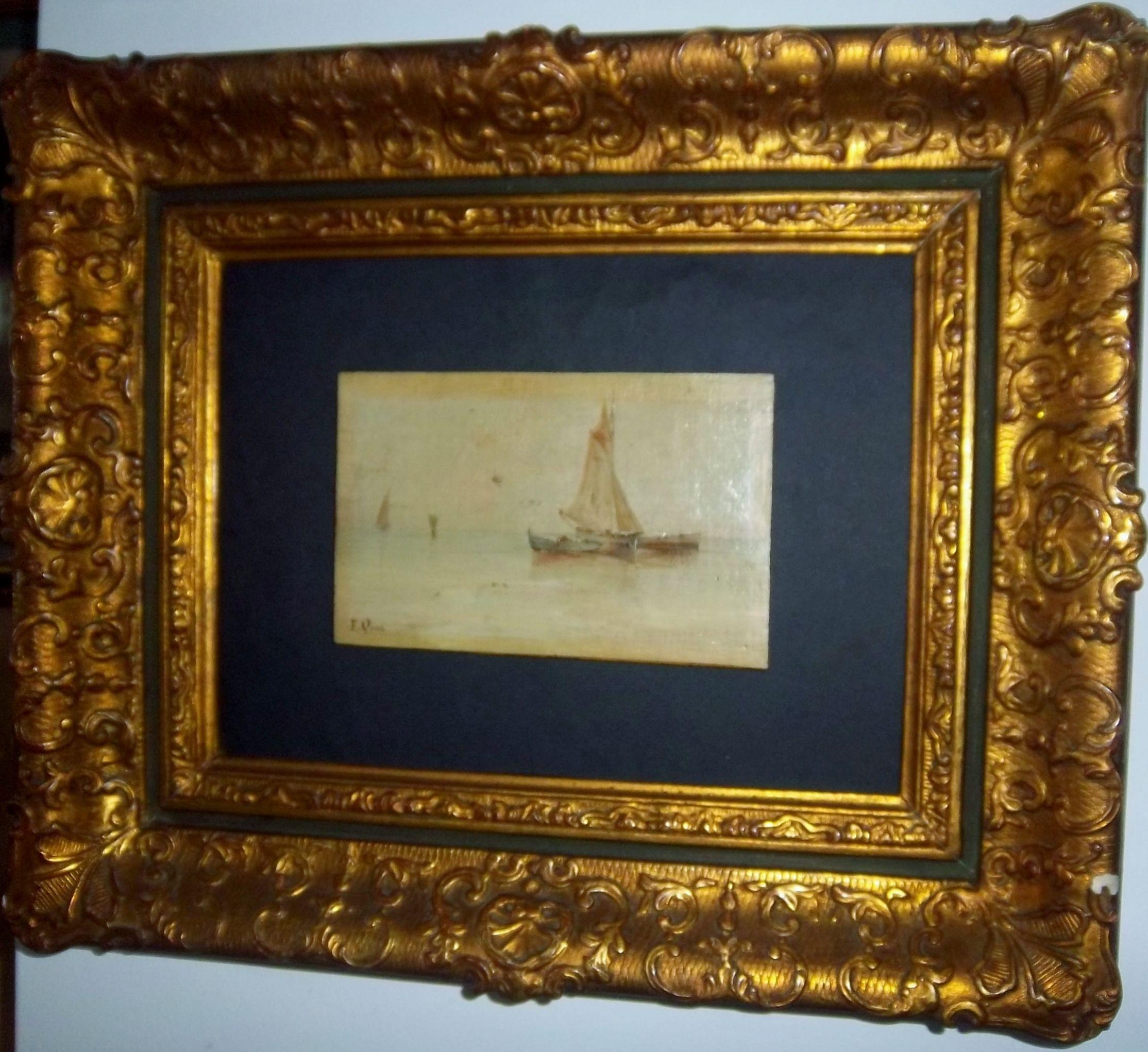"""Emilio Ocón y Ribas (Peñon de velez de la Gomera, Málaga, 1845- Málaga, 1904) """"Preparando la pesca al amanecer"""" Óleo sobre cartón. Medidas: sin marco 17.2 x 11 cm               con marco 44 x 33.5 cm"""