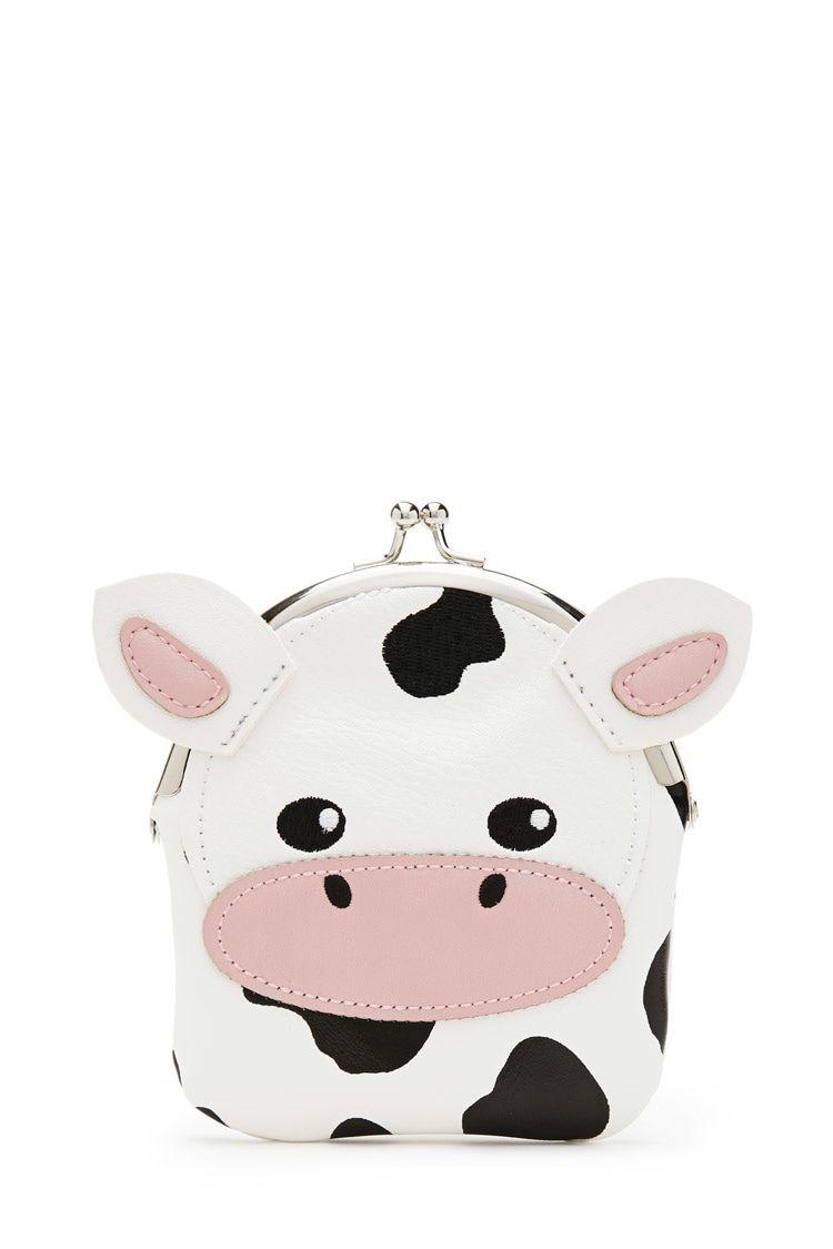 0e3ada2dc00d A faux leather cow coin purse featuring a kiss lock closure. | Cool ...