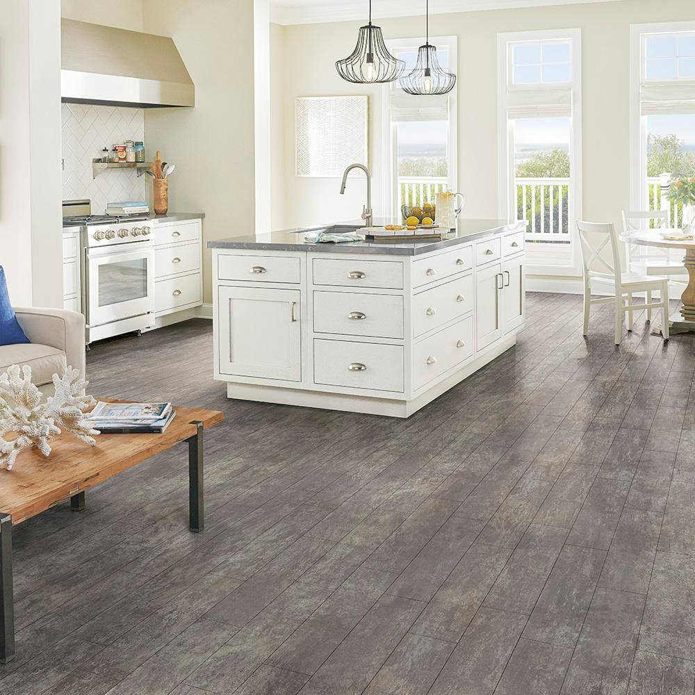 Armstrong Cushionstep Better With Diamond 10 Technology 12 Ft Width X Custom Length Stone Grey Residential Vinyl Sheet Flooring B3356401 The Home Depot Vinyl Sheet Flooring Laminate Flooring In Kitchen Armstrong Flooring