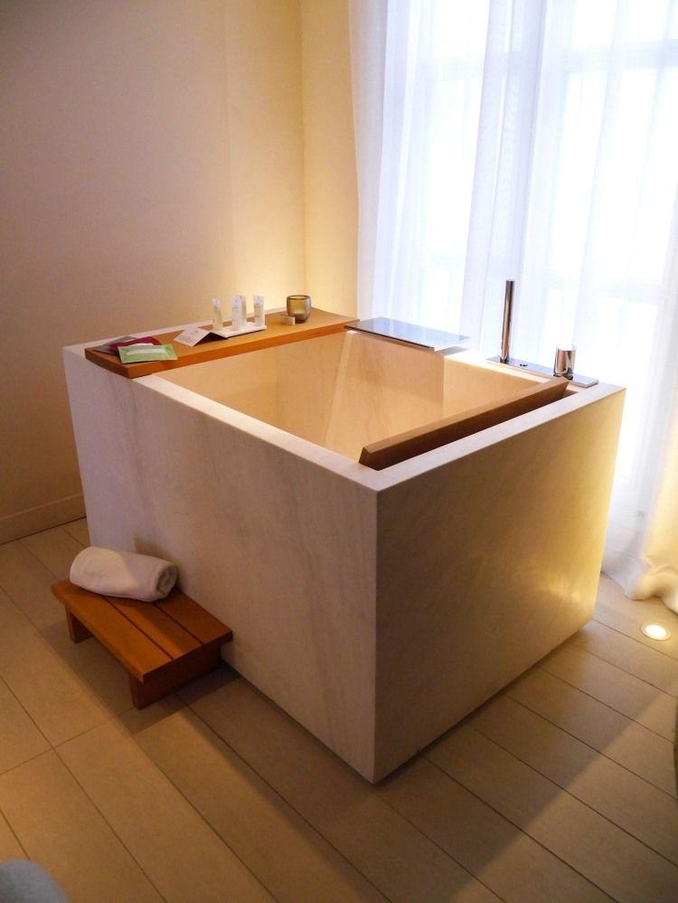 rechteckige Ofuro Badewanne mit Holz-Ablage Möbel Pinterest - badezimmermöbel aus holz