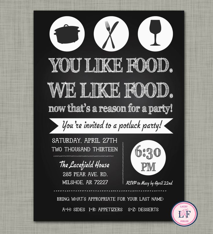 Potluck Dinner Party Ideas Part - 22: Chalkboard Pot Luck Party Invite- Just Because Party - Housewarming Party- Dinner  Party Invitation- Kitchen Party- Kitchen Shower Invite
