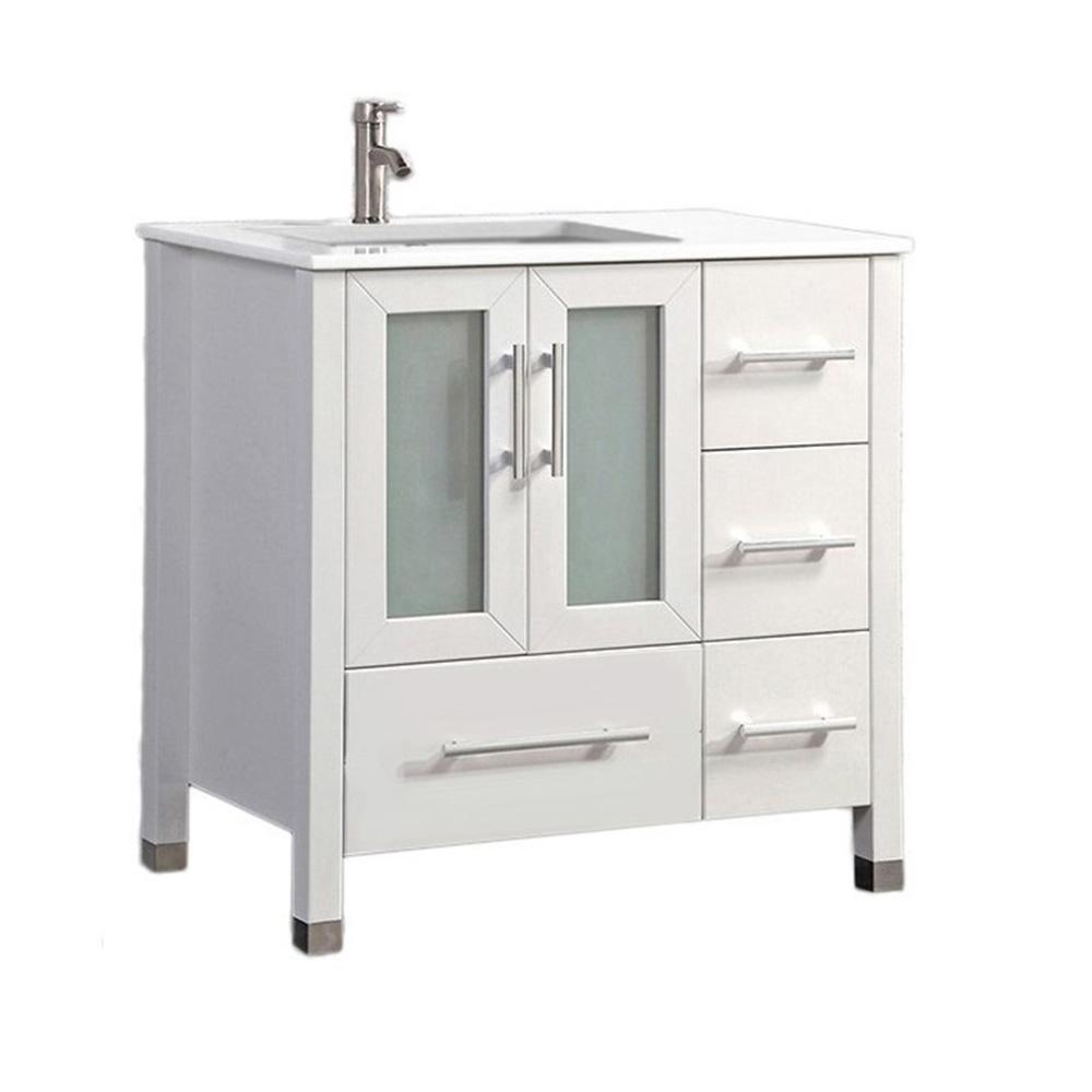 Mtd Vanities Salem 36 In W X 22 In D X 36 In H Left Side Sink