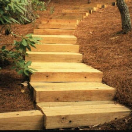 wooden retaining wall steps | Timber Stairs | Decks, Sunrooms ...