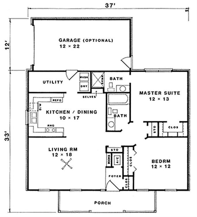 1036 sq ft 2 bed 2 bath elongate the garage to make a for House plans maker