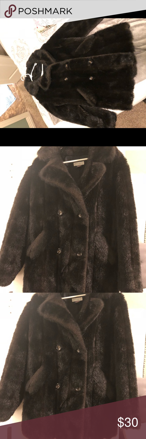 1645dcc26 Lew Magram connection vintage faux fur coat Made in the USA! lew magram  Jackets & Coats Pea Coats