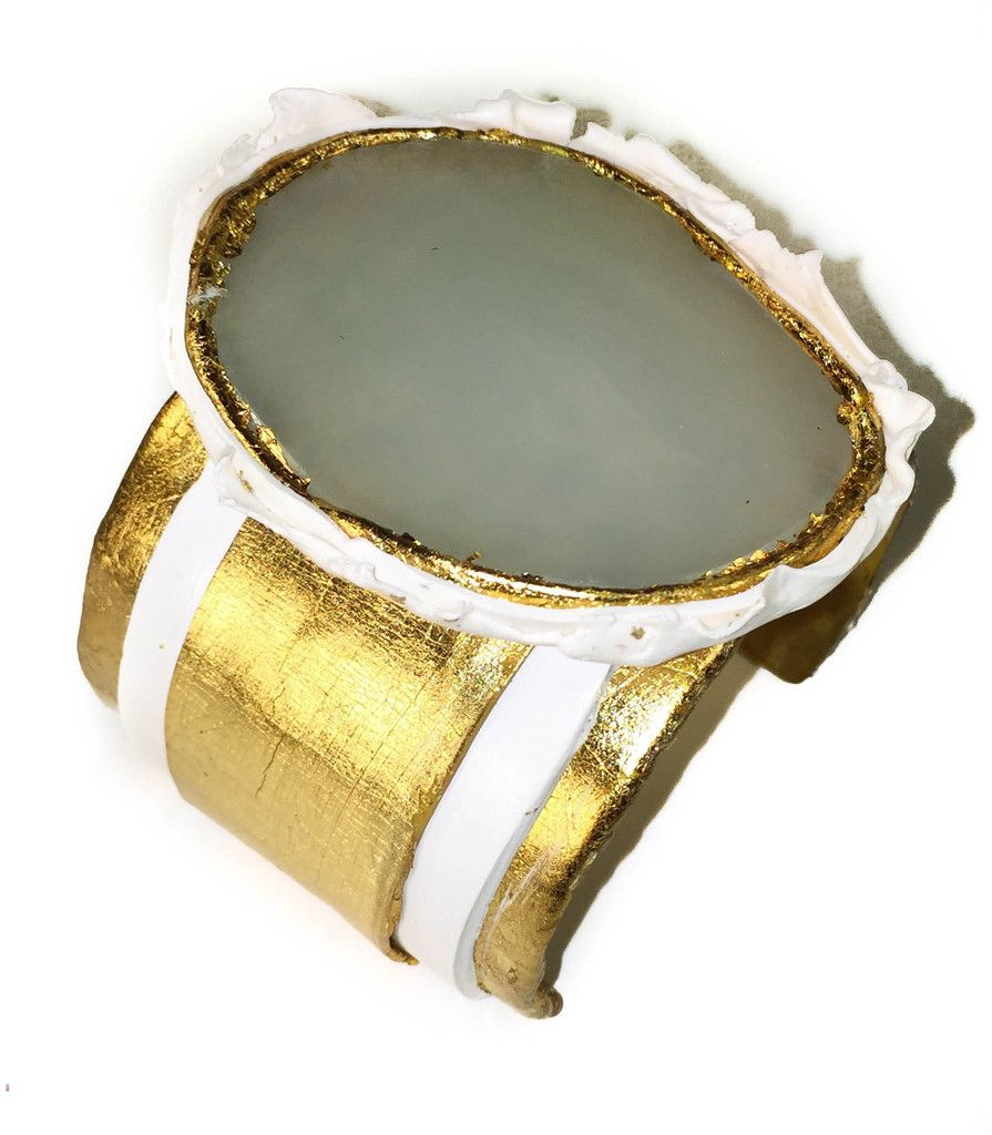 Agate White and Gold Cuff