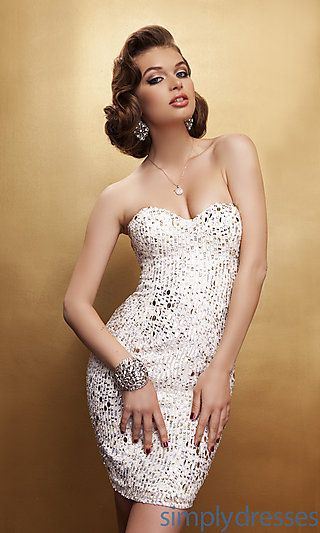 Love The Short Hair Short Strapless Beaded And Sequined Dress At
