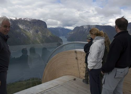 a scenic outlook in  Aurland, Norway