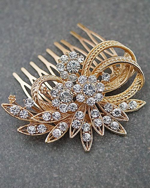 Vintage Style Hair comb Crystals Bridal Hair comb in Rose Gold from EarringsNation Vintage style weddings
