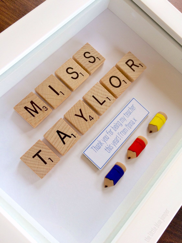 Personalised Teachers Gift Scrabble Style Art 7x5 Box