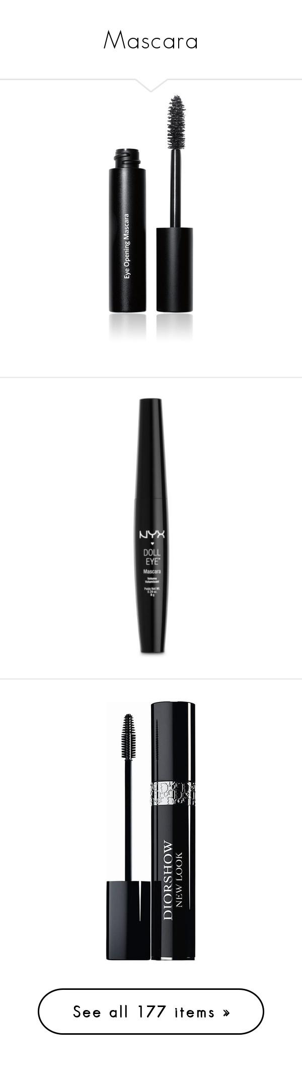 """Mascara"" by tina-teena ❤ liked on Polyvore featuring beauty products, makeup, eye makeup, mascara, beauty, cosmetics, eyes, filler, bobbi brown cosmetics and thickening mascara"
