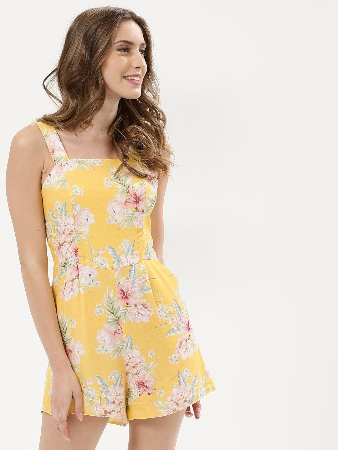 1554581554 Buy Tie Back Playsuit For Women - Women s Yellow Pattern Playsuits Online  in India