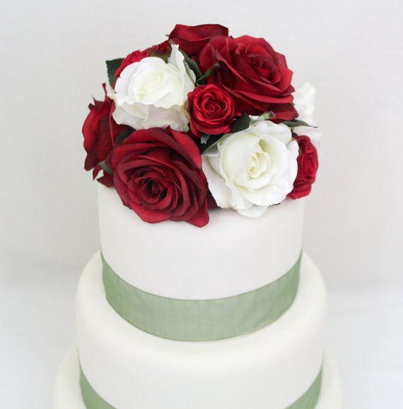 Winter Wedding Cake Topper Red White Rose Silk by ItTopsTheCake