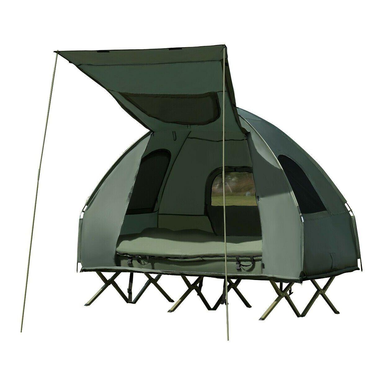 Gymax 2 Person Compact Portable Pop Up Tent Camping Cot W Air Mattress Sleeping Bag Walmart Com Tent Camping Beds Air Mattr In 2020 Tent Cot Camping Cot Tent