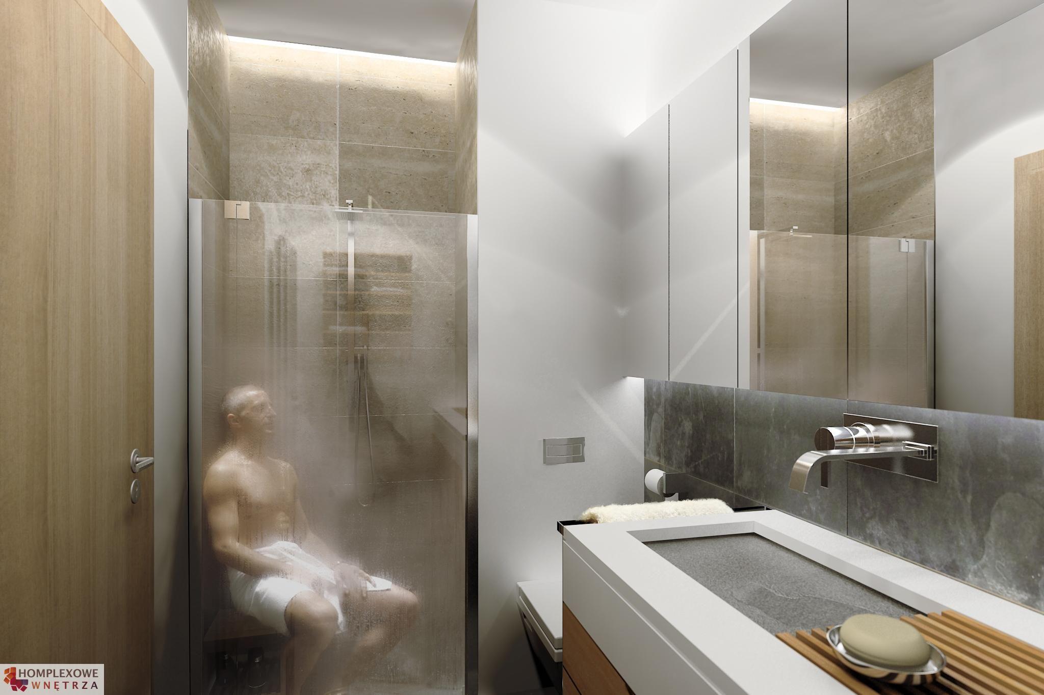 Aranżacja łazienki Wystrój Nowoczesny W Kolorach Biel Brąz