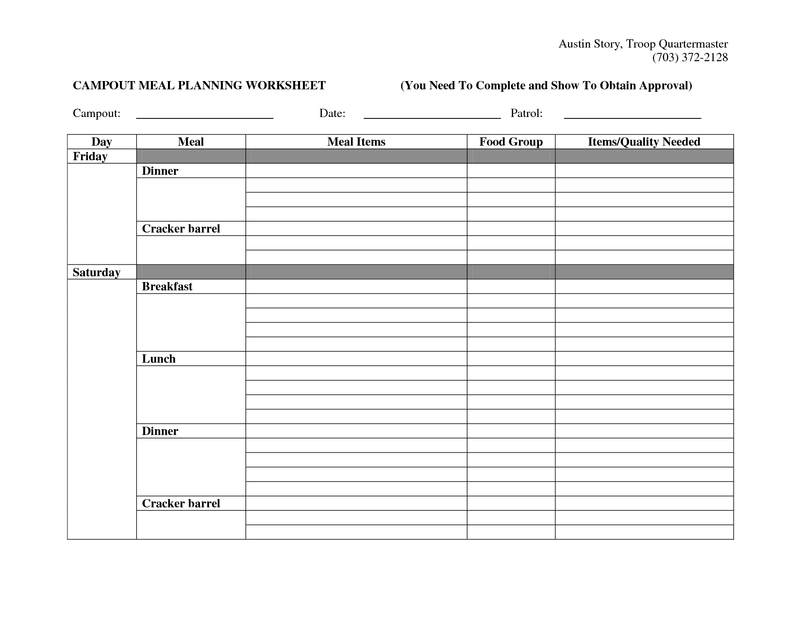 Campout Meal Planning Worksheet