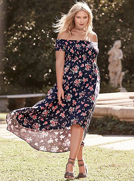 528914d1cea Plus Size Smocked Hi-Lo Maxi Dress