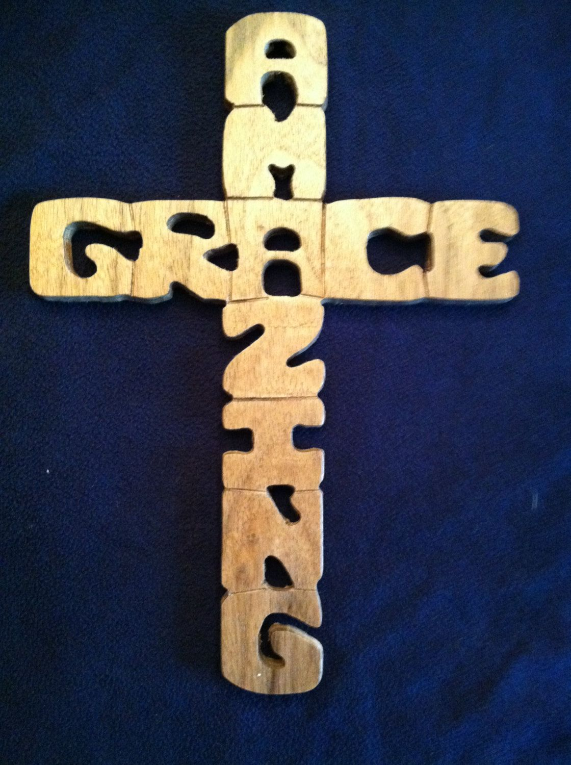 Handcrafted Wooden Amazing Grace Cross.