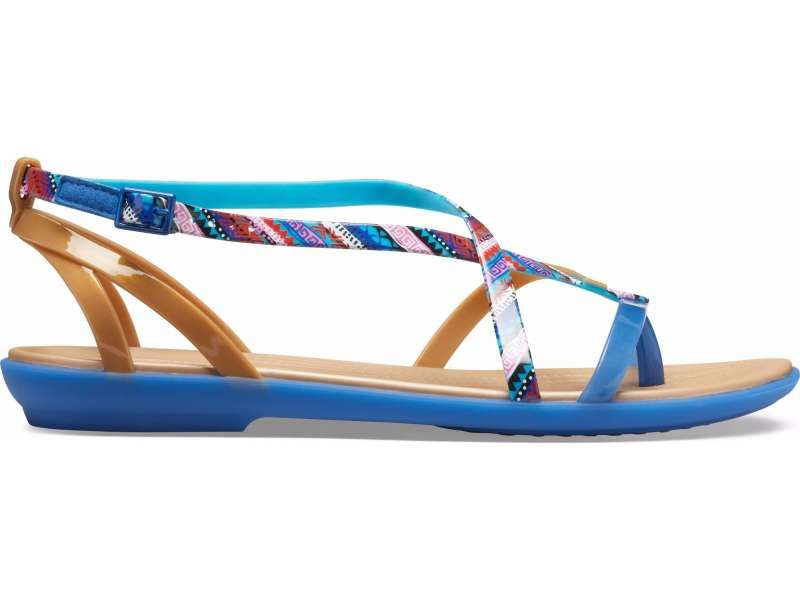 a440fa70693 Crocs™ Isabella Graphic Gladiator Sandal Blue Jean Gold