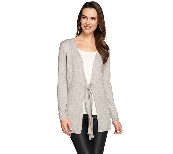 A273290 H by Halston Tie-Front Long Sleeve Knit Cardigan