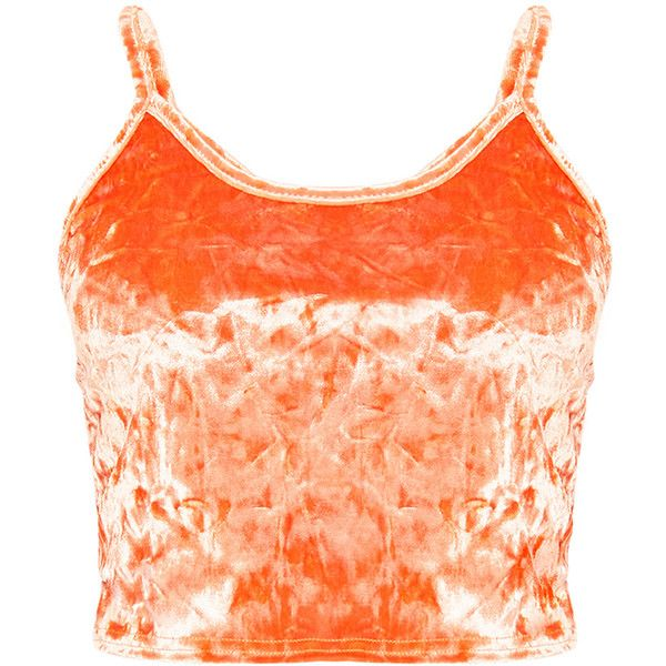 2424c66a4dd Kathleen Orange Crushed Velvet Cami Crop Top ($18) ❤ liked on Polyvore  featuring tops, cut-out crop tops, orange camisole, red top, cropped cami  and ...
