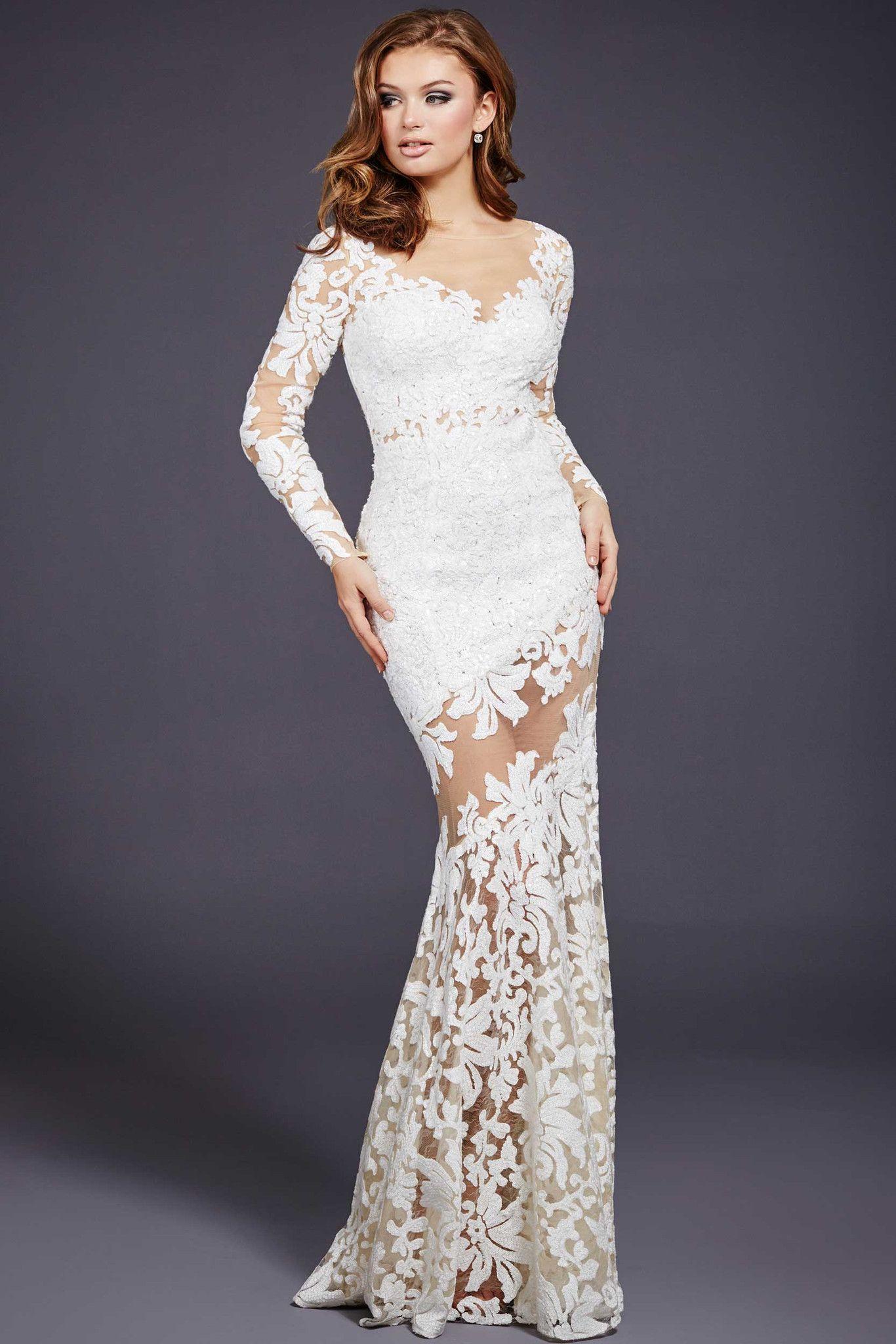 Jovani 32607 White Lace Long Sleeve Dress Prom Dresses Long With Sleeves White Long Sleeve Prom Dress [ 2048 x 1366 Pixel ]