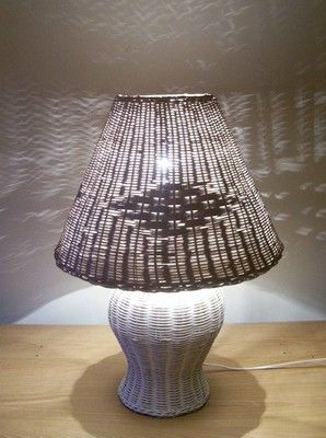 Vintage White Wicker Table Lamp & Shade