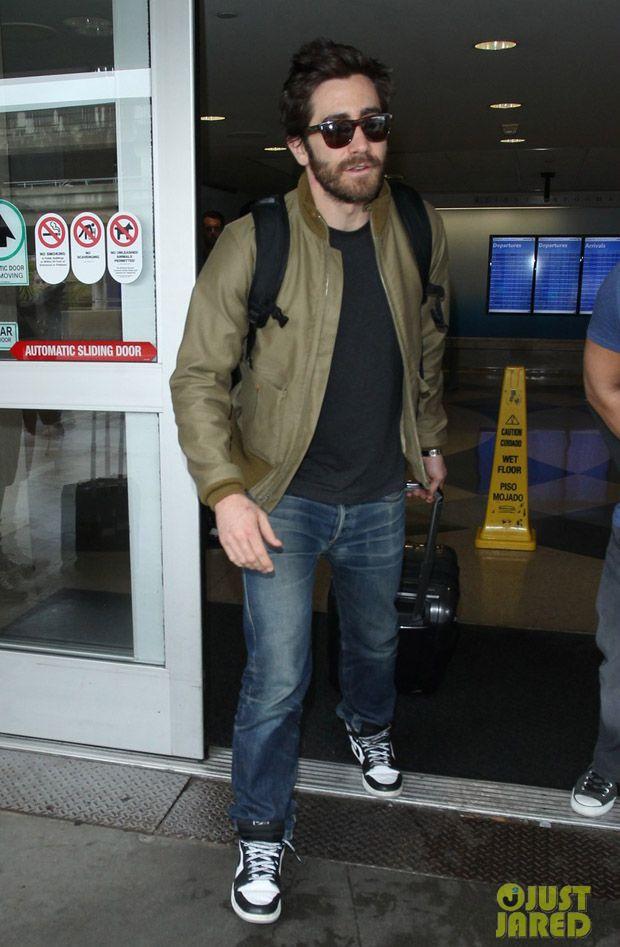 Jake Gyllenhaal in the Air Jordan 1 Barons Celebrity Sneakers b41650becdb6