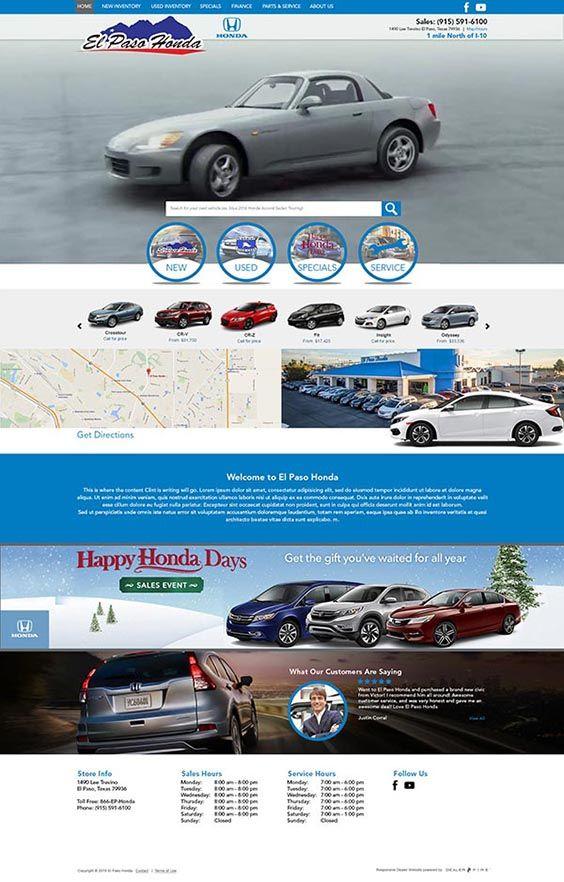 el paso honda responsive website design honda dealership fun website design website design pinterest