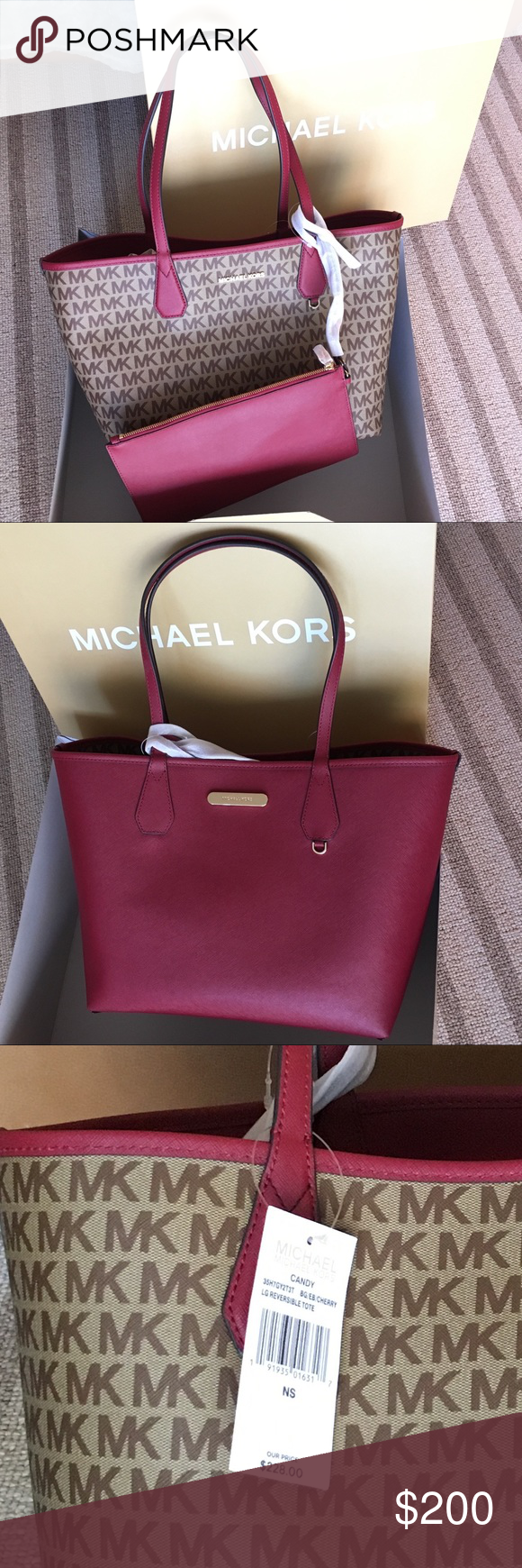 03daa1cd6fbb54 Michael kors burgundy reversible tote bag New with tag burgundy reversible  signature tote bag with pouch