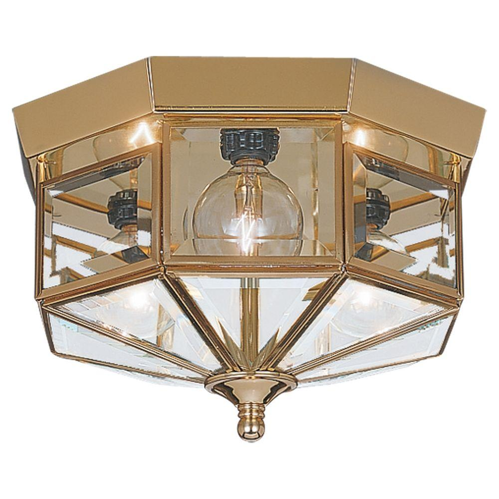 Sea Gull Lighting Grandover 3Light Polished Brass Flush