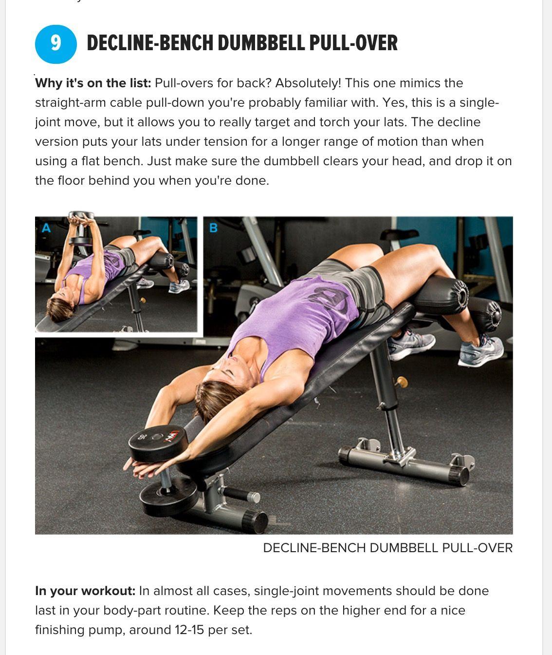 Decline dumbbell pullover | Training Tips 2 | Pinterest