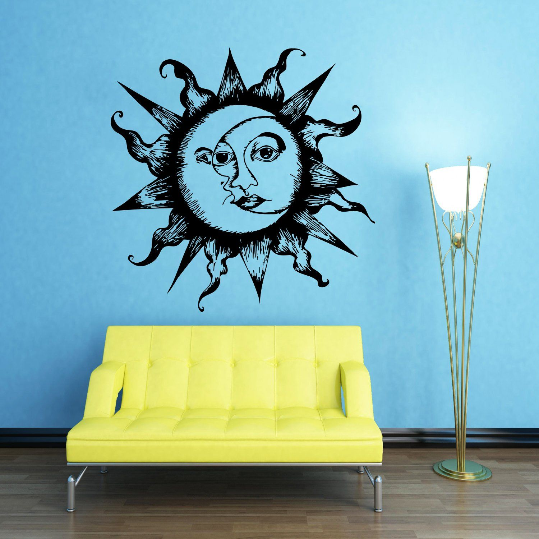 Wall Decals Sun Moon Crescent Dual Ethnic Stars Night Symbol ...