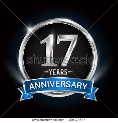 Celebrating 17 Years Anniversary Logo With Silver Ring And Blue Ribbon