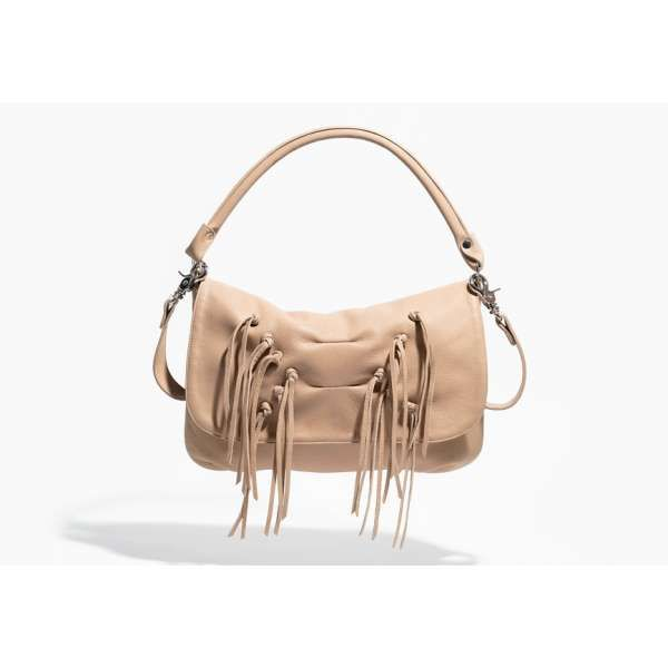 First Mate lambskin leather shoulder bag in sand by Jack