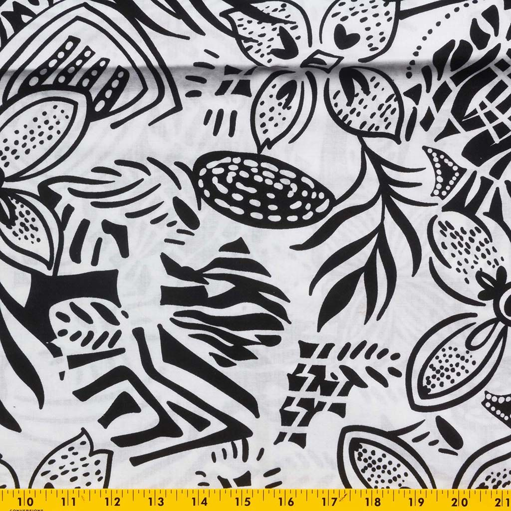 Fabric Print Cotton Lawn Black Designs On White Background Flowers And Leaves 1 Yard Graphic