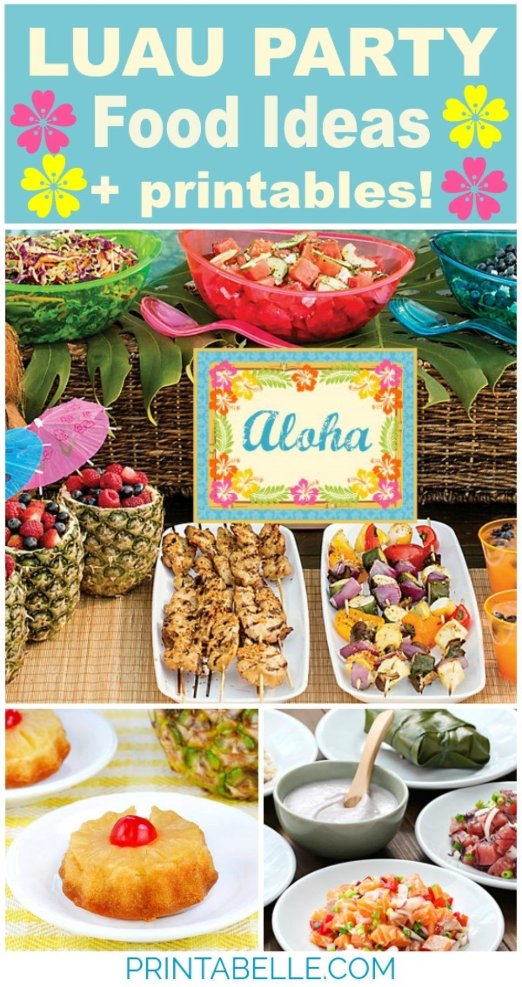 luau party food (+printables!) – free party printables at
