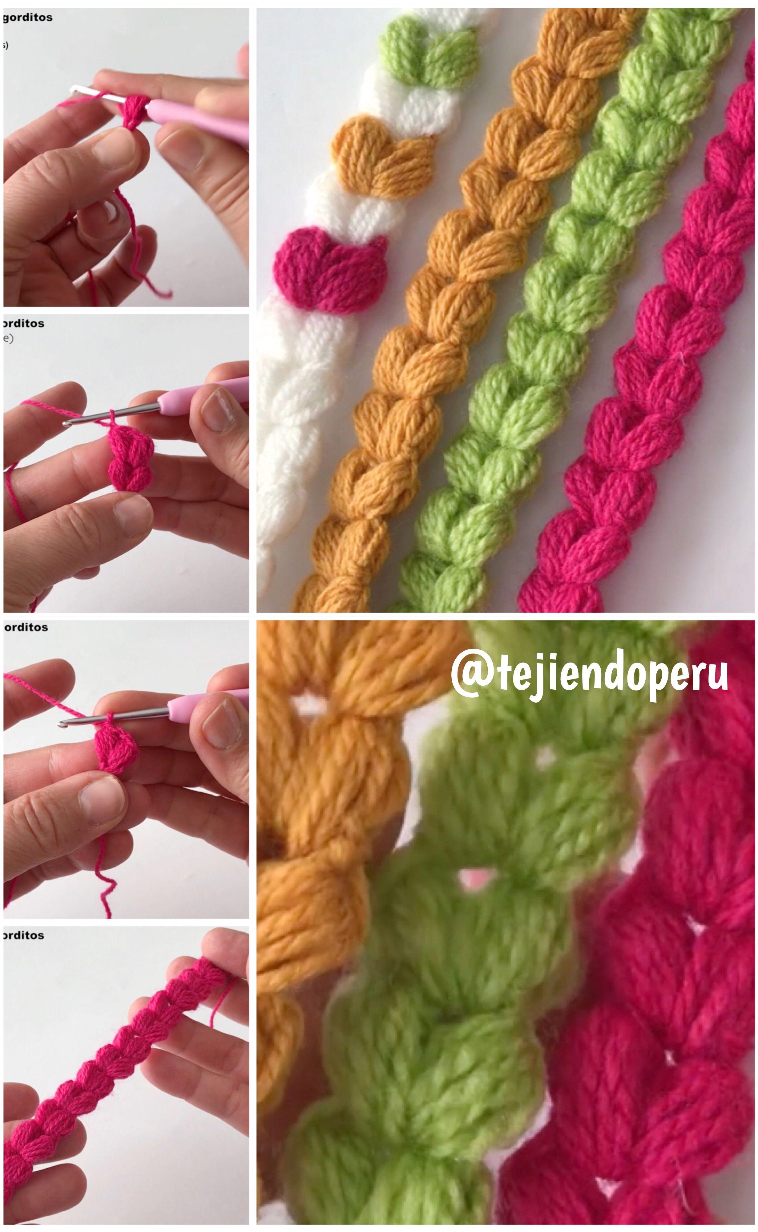 Cordón de corazones puff o gorditos tejido a #crochet 💜 Ideal para ...
