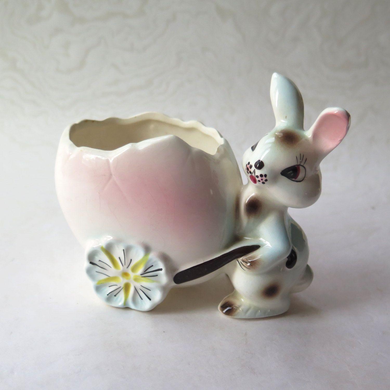 Small Vintage Bunny Planter Easter Bunny Bunny Decor Spring