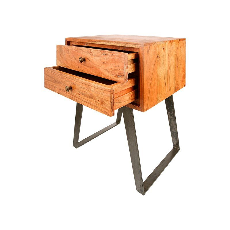 Leach 2 Drawer Bedside Table Bedside Table Solid Wood Wood