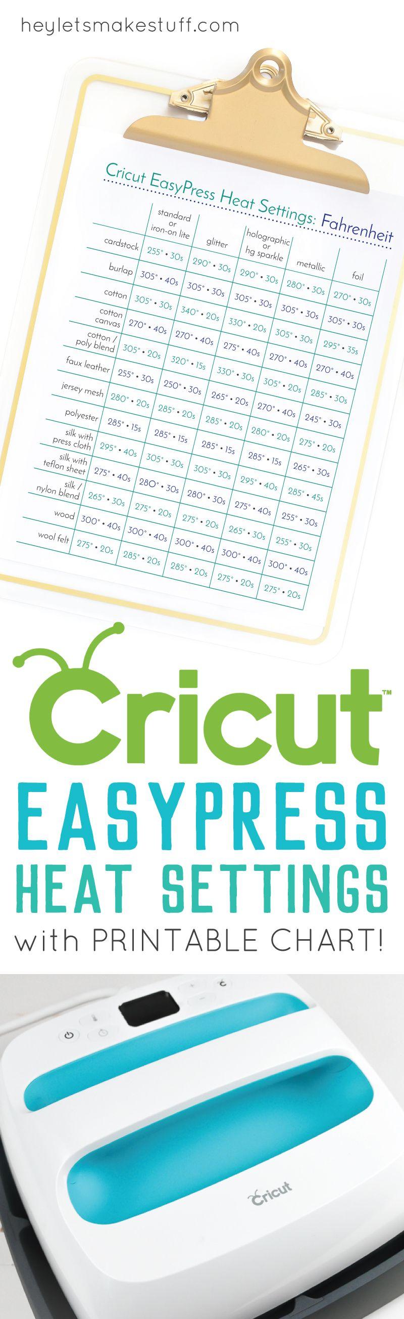 Heat Settings for the Cricut Easy Press Cricut tutorials