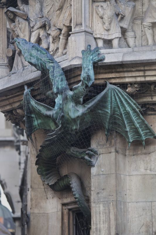 Dragon Climbing City Hll In Munich Gargoyles