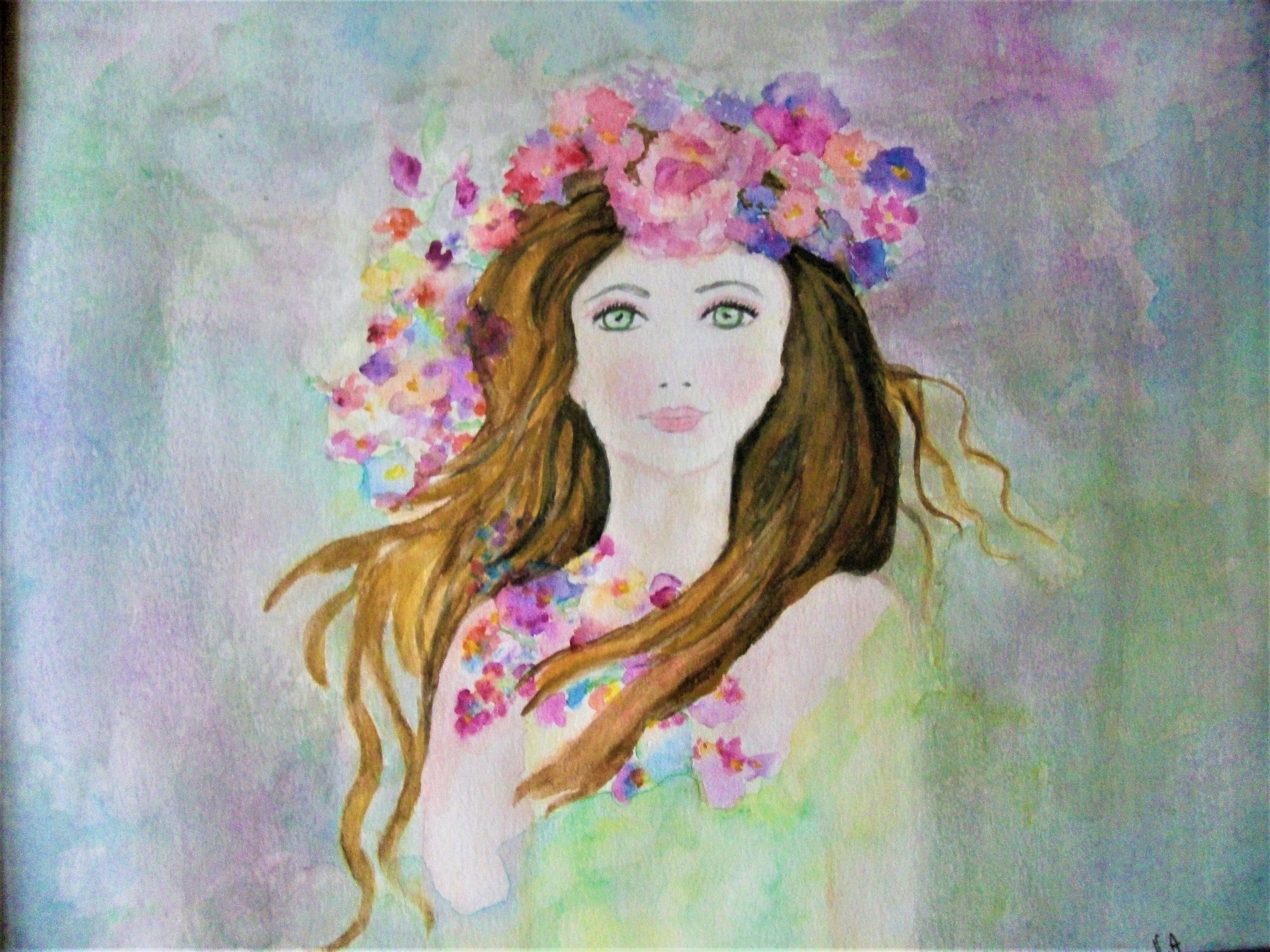 Aquarelle Originale Fille Fleurs Illustration Fille Florale