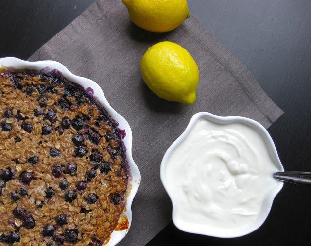 "Baked Blueberry Oatmeal with Lemon ""Cream"""