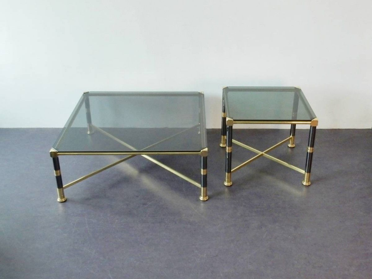 Set Of Two Coffee Tables In Metal Brass And Glass Hollywood Regency Style 1970 S With Images Hollywood Regency Style Coffee Table Table