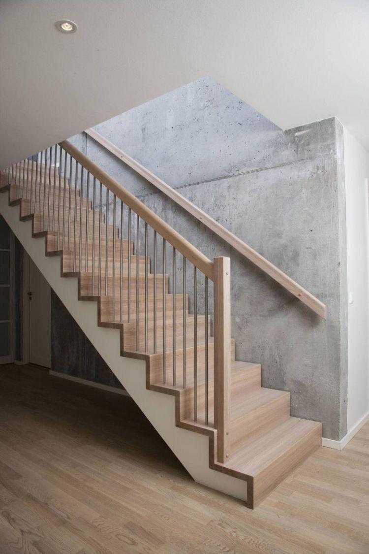 rampe escalier bois main courante bois peinture effet