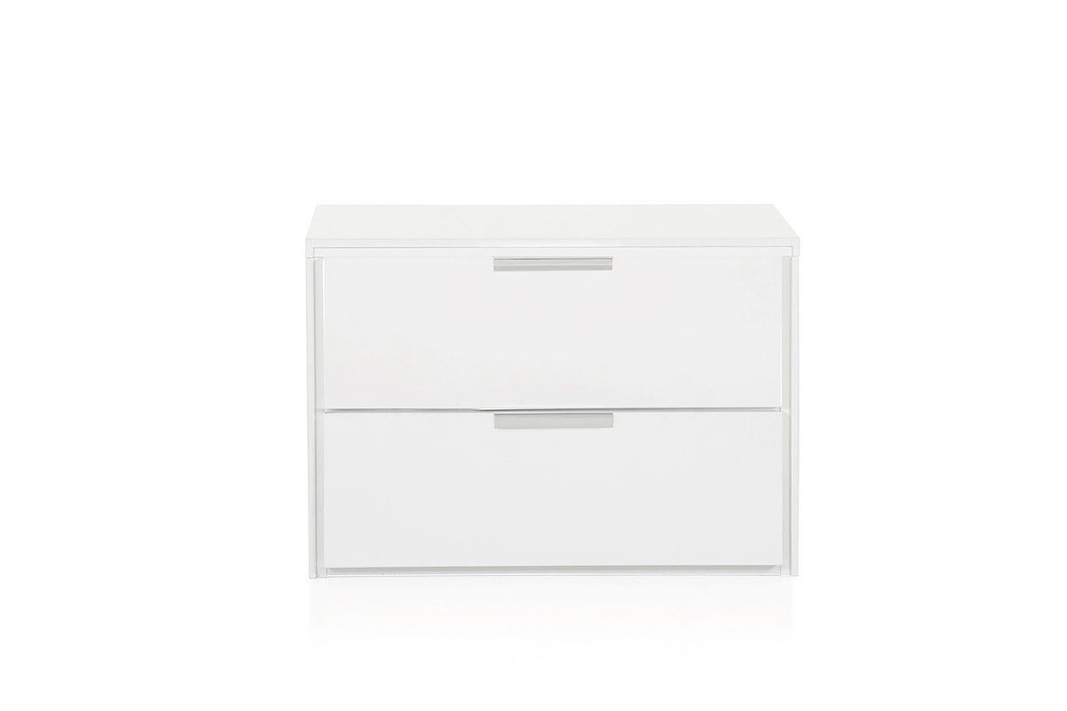 "Modrest Lauren Modern White Night Stand VGBBRMD321NS-WHT $234  Product : 72229  Features :  White High Gloss Finish 2 Drawers Stainless Steel Handles No Assembly Required Dimension :   Night Stand : W26"" x D18"" x H15"""